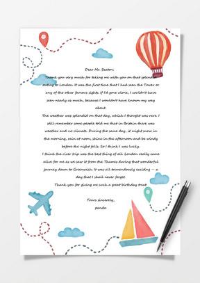 手绘水彩卡通热气球背景a4信纸模板下载