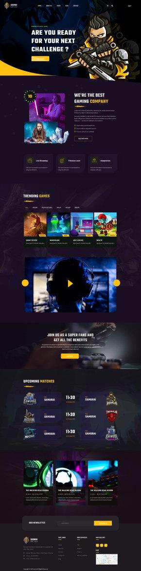电子竞技游戏行业html5网站模板