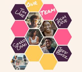 创意的团队人物图片蜂巢布局